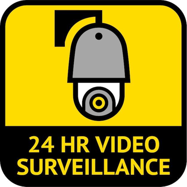 Videosorveglianza, etichetta cctv di forma quadrata Vettore Premium