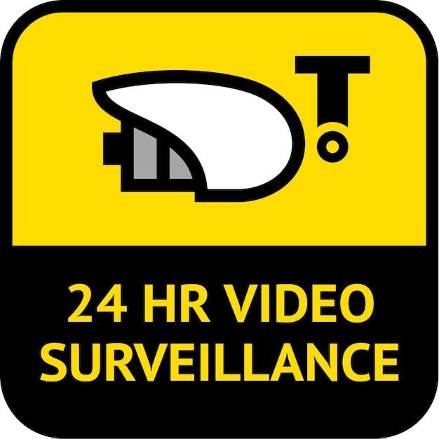 Videosorveglianza, etichetta di forma quadrata Vettore Premium