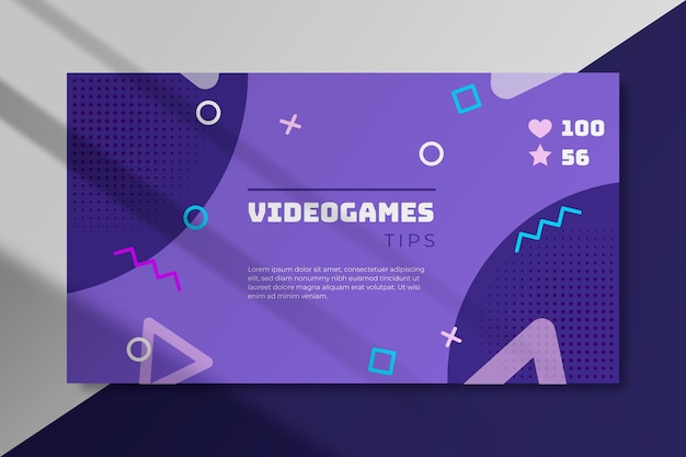 Concetto di blog banner videogioco Vettore Premium