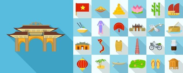 Set di icone del vietnam, stile piatto Vettore Premium