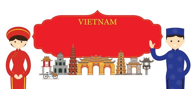Luoghi d'interesse del vietnam e abbigliamento tradizionale Vettore Premium