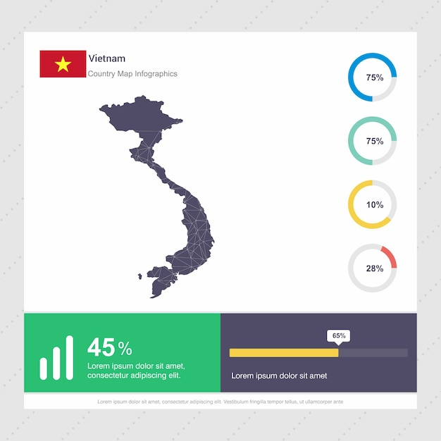 Modello di vietnam map & flag infographics Vettore Premium