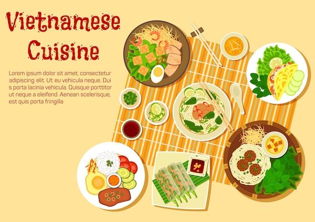 Piatto di cucina vietnamita con vista dall'alto della cena in famiglia con zuppa di vermicelli di manzo e riso panino bo, frittelle sottili di riso, involtini di insalata di gamberetti, riso spezzato con torte, polpette con noodles Vettore Premium