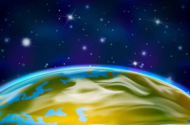 Vista sul pianeta terra dall'orbita sullo sfondo dello spazio con stelle luminose e costellazioni Vettore Premium