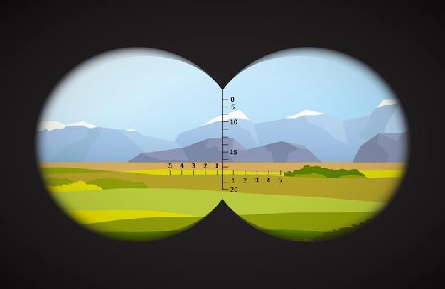 Vista dal binocolo sul paesaggio con campi Vettore Premium