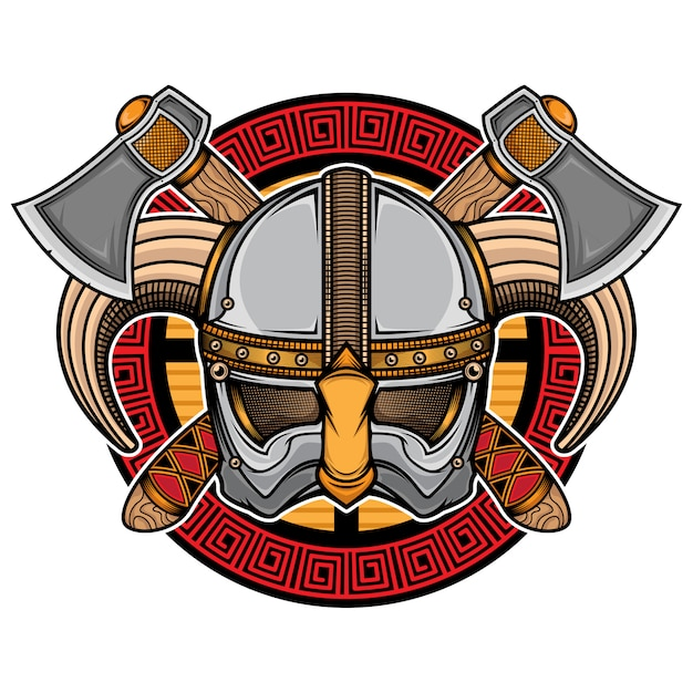 Logo del casco vichingo Vettore Premium