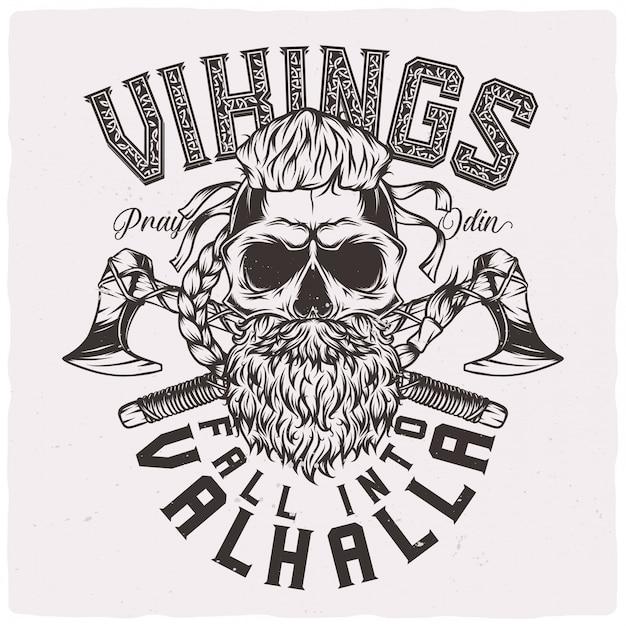 Cranio vichingo con barba Vettore Premium