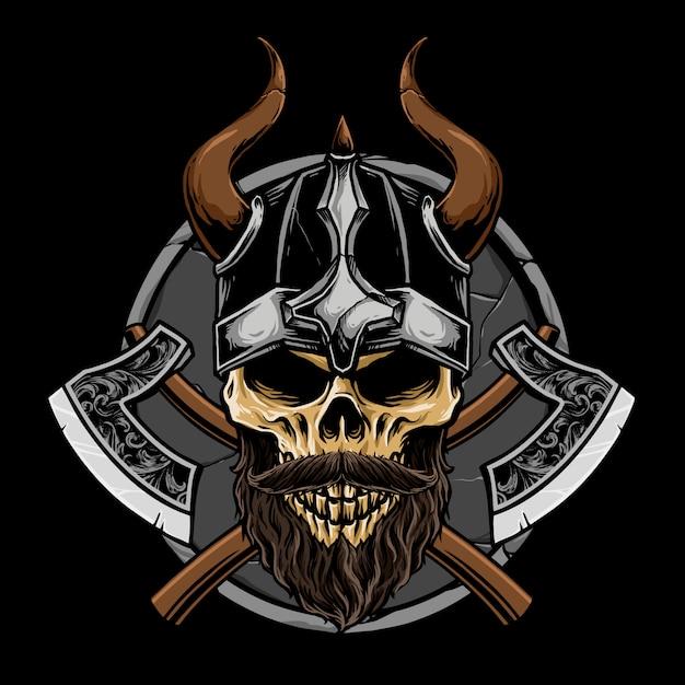 Cranio di viking con l'illustrazione dell'arma Vettore Premium