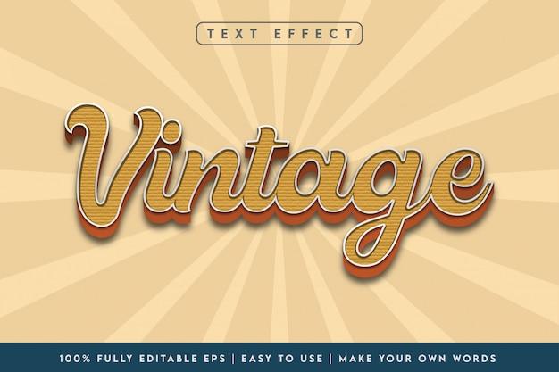 Effetto di testo stile vintage 3d in combinazioni colori marroni Vettore Premium