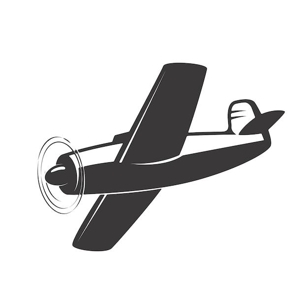 Illustrazione dell'aeroplano dell'annata su priorità bassa bianca. elementi per logo, etichetta, emblema, segno. illustrazione Vettore Premium