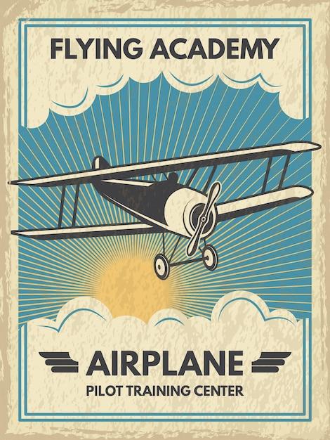 Poster di aircaft vintage. illustrazione. banner retrò con mosca dell'aeroplano Vettore Premium