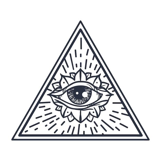Annata che tutto vede l'occhio nel triangolo. Vettore Premium