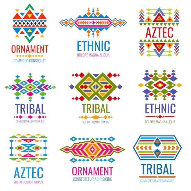 Insieme di marchio di vettore indiano americano dell'annata. identità del marchio aziendale in stile tribale messicano Vettore Premium