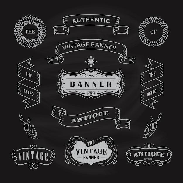 Illustrazione disegnata a mano di progettazione della lavagna dell'etichetta antica d'annata Vettore Premium