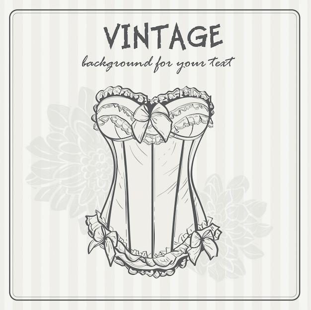 Sfondo vintage con biancheria intima Vettore Premium
