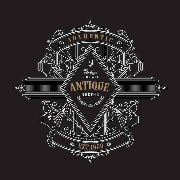 Distintivo dell'annata antica etichetta disegnata a mano telaio design retrò Vettore Premium
