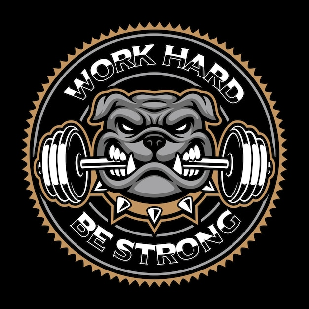 Distintivo dell'annata del cane, mascotte di bodybuilding su sfondo scuro. Vettore Premium