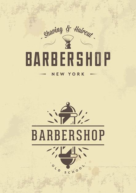 Distintivi ed emblemi del negozio di barbiere dell'annata Vettore Premium