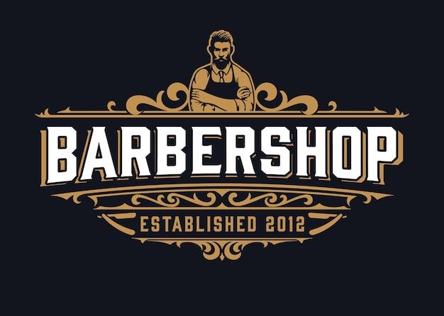 Logo del negozio di barbiere vintage con elementi floreali Vettore Premium