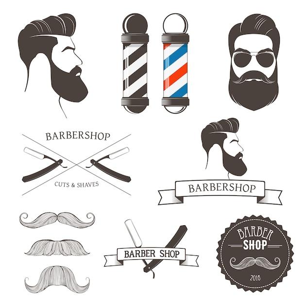 Strumenti del negozio di barbiere vintage ed elemento di design per i loghi Vettore Premium