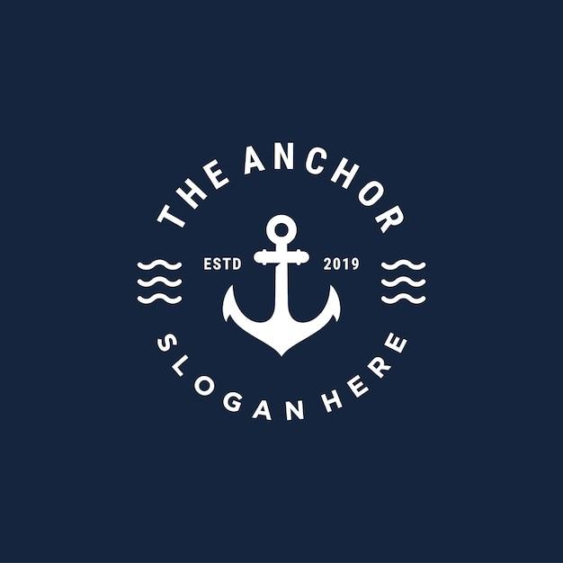 Modello di progettazione di logo di vettore di ancoraggio vintage bedge Vettore Premium