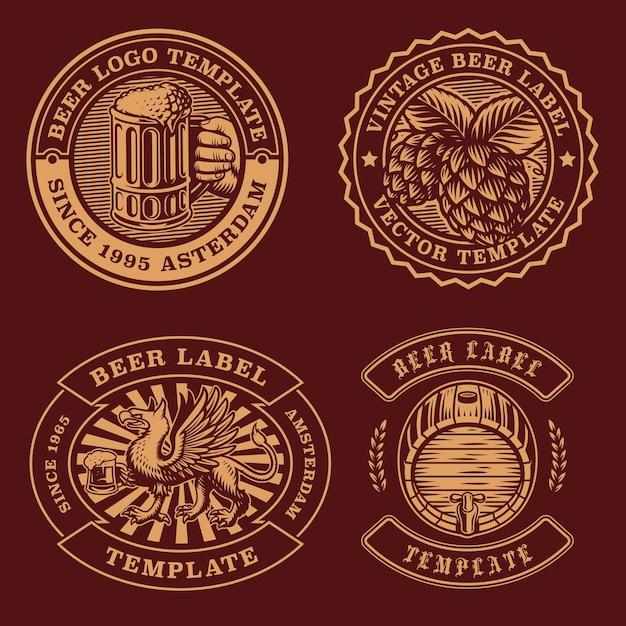 Bundle di emblemi di birra vintage Vettore Premium