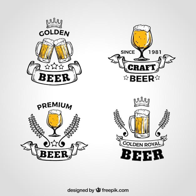 Collezione logo birra vintage Vettore Premium