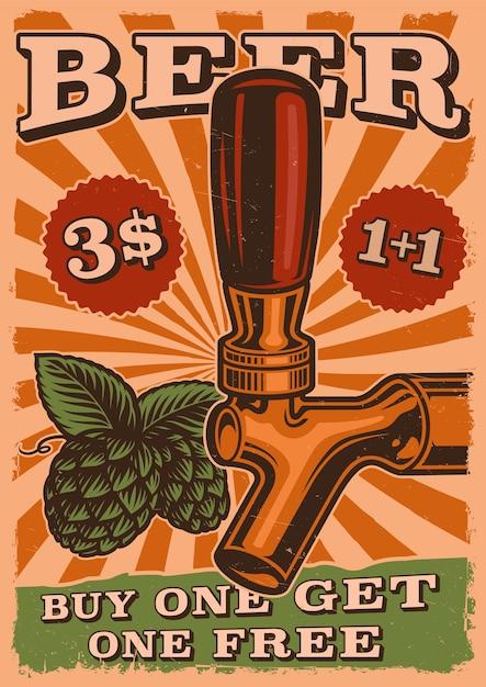 Poster di birra vintage con birra alla spina e luppolo Vettore Premium