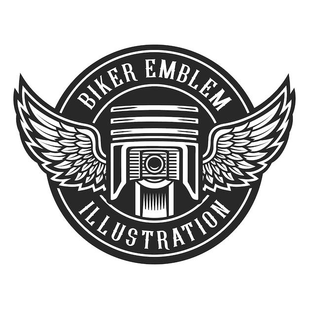 Emblema di biciclette d'epoca, pistone con ali. Vettore Premium