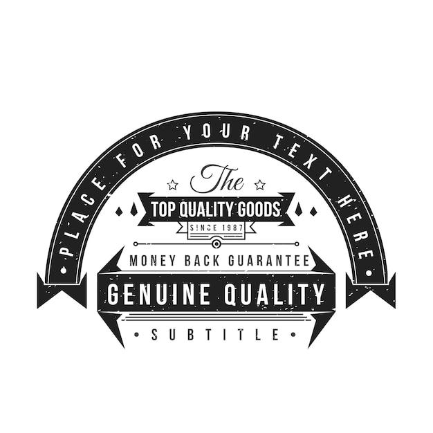 Etichetta monocromatica nera vintage grunge texture decorazione banner retrò nastri su sfondo bianco Vettore Premium