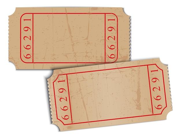 Biglietti d'epoca carta bianca Vettore Premium