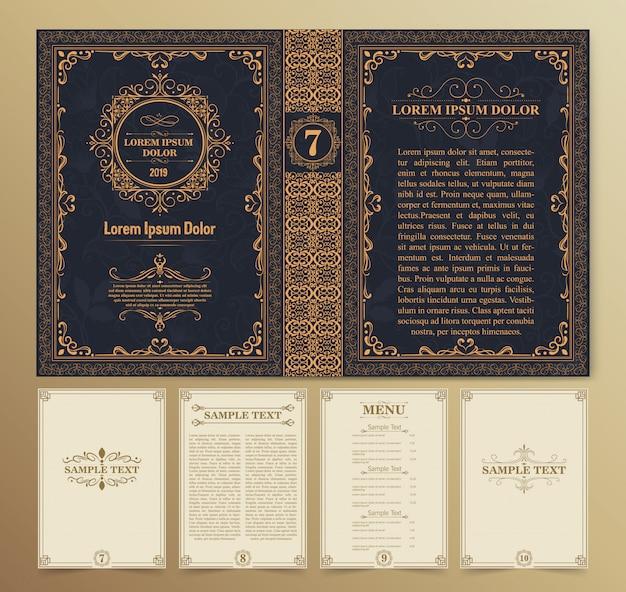 Layout e design di libri vintage Vettore Premium