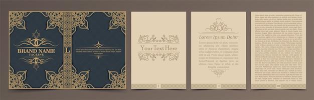 Set di layout di libri d'epoca Vettore Premium