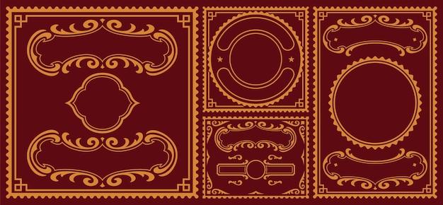Fascio di bordi vintage, queste parti possono essere utilizzate per le cartoline Vettore Premium
