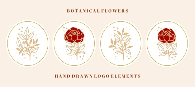 Collezione vintage di elementi di rose botaniche, fiori di peonia e rami foglia per marchio di bellezza o logo floreale femminile Vettore Premium