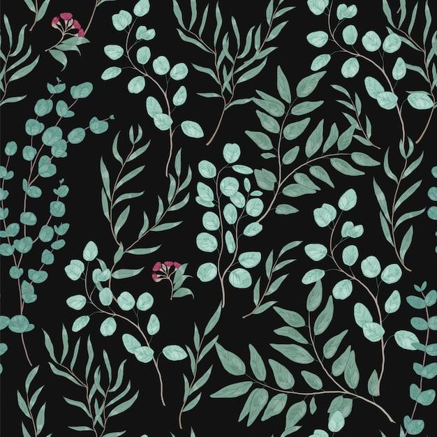 Modello senza cuciture botanico vintage con splendidi rami di eucalipto, foglie e fiori sul nero Vettore Premium