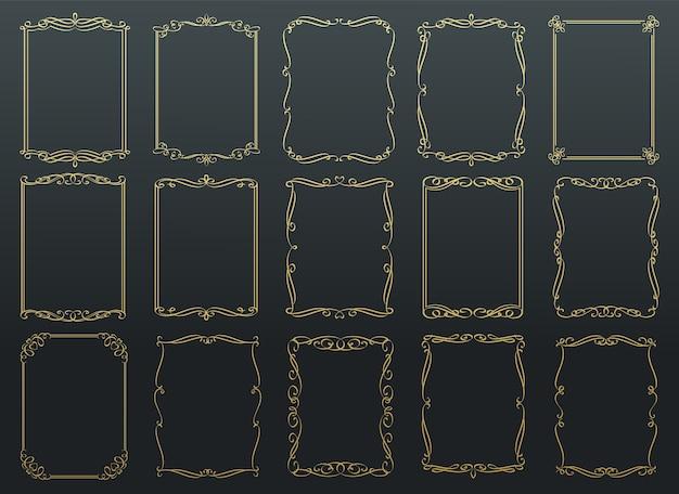 Cornici dorate calligrafiche vintage. Vettore Premium
