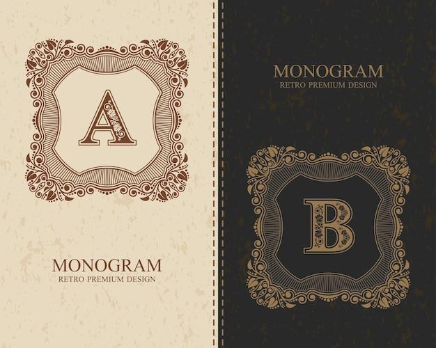 Monogramma calligrafico vintage lettere a, b, lettere dell'alfabeto, tipo di concetto abc come logotipo Vettore Premium