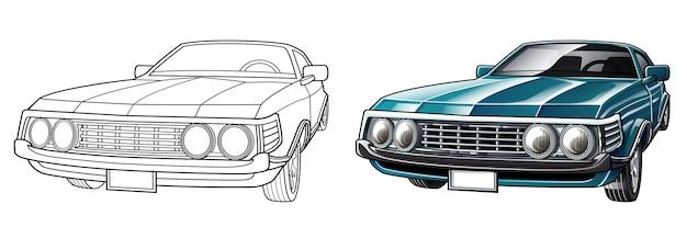 Pagina da colorare di cartoni animati auto d'epoca per bambini Vettore Premium