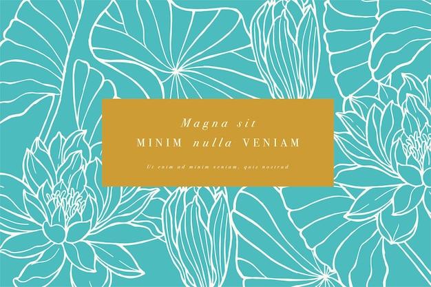 Carta d'epoca con fiori di loto. ghirlanda floreale. cornice fiore per negozio di fiori con etichetta Vettore Premium