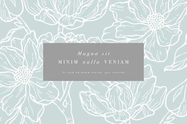 Carta d'epoca con fiori di magnolia. ghirlanda floreale. cornice fiore per negozio di fiori con etichetta Vettore Premium