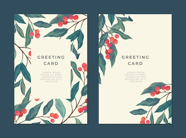 Carta d'epoca con bacche rosse, foglie verdi e un posto per il testo per la copertina. Vettore Premium