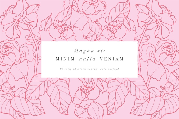 Carta d'epoca con fiori di rosa. ghirlanda floreale. Vettore Premium