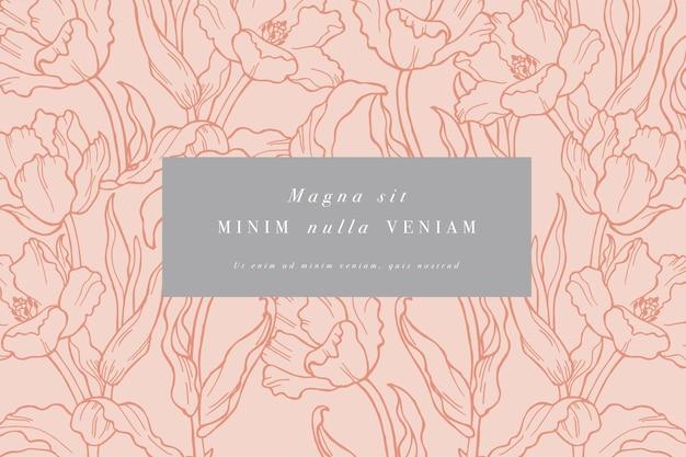 Carta d'epoca con fiori di tulipano. cornice floreale per negozio di fiori con disegni di etichette. Vettore Premium