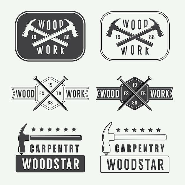 Falegnameria vintage, lavorazione del legno e logo meccanico Vettore Premium