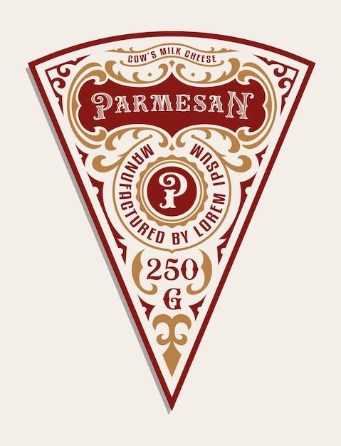 Un modello di etichetta di formaggio vintage, tutti gli elementi sono nel gruppo separato e modificabili Vettore Premium