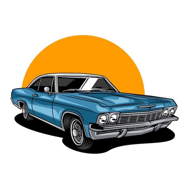 Illustrazione di auto d'epoca d'epoca Vettore Premium