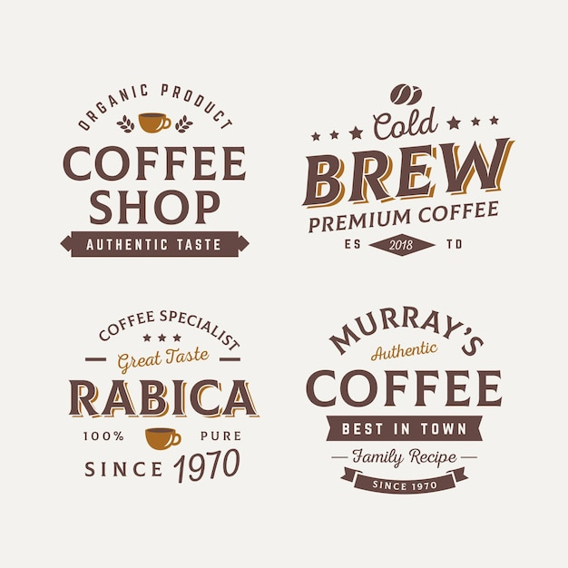 Collezione di badge caffè vintage Vettore Premium