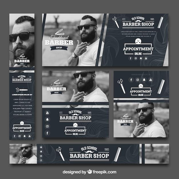 Raccolta d'annata di banner da barbiere Vettore Premium