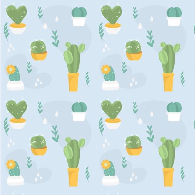Modello di piante di cactus diverso colorato vintage Vettore Premium